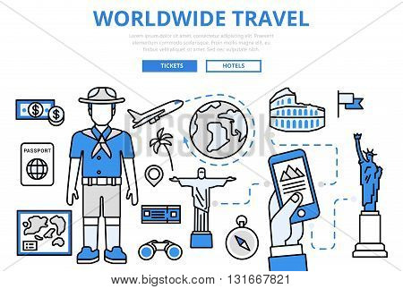 Travel ticket booking concept flat line art vector icons