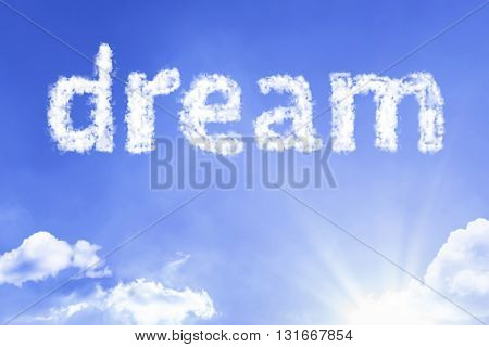 Dream cloud word with a blue sky