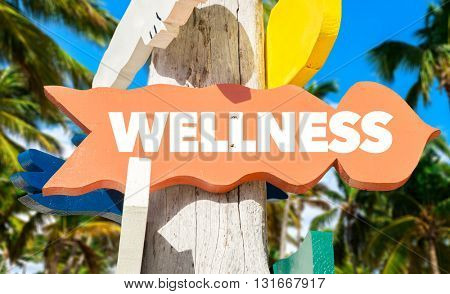 Wellness signpost with palm trees