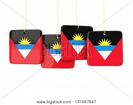 Square Labels With Flag Of Antigua And Barbuda