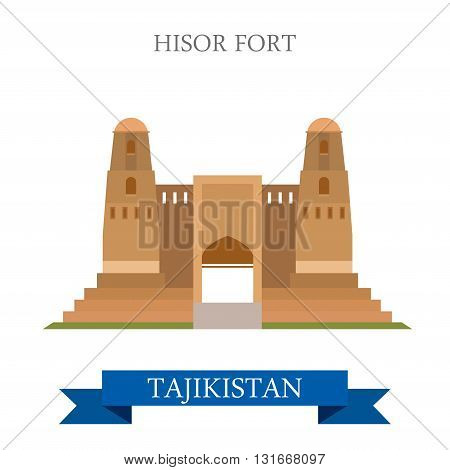 Hisor Fort in Dushanbe Tajikistan vector flat attraction travel