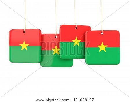 Square Labels With Flag Of Burkina Faso