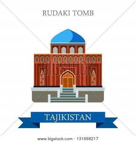 Rudaki Poet Tomb Tajikistan vector flat attraction sightseeing