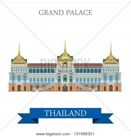 Grand Palace in Bangkok Thailand vector flat attraction travel