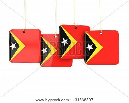 Square Labels With Flag Of East Timor