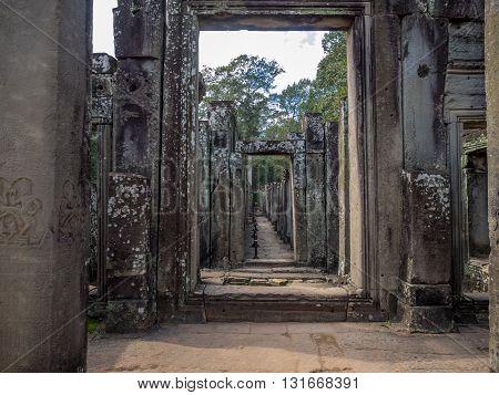 Never ending massive doorway in Cambodian temple