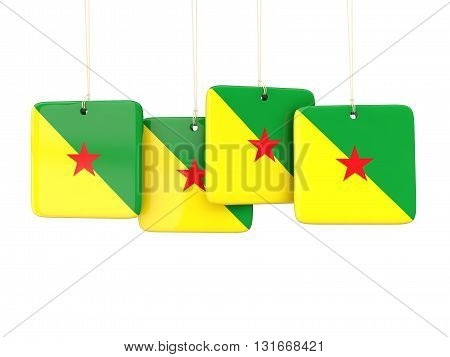 Square Labels With Flag Of French Guiana