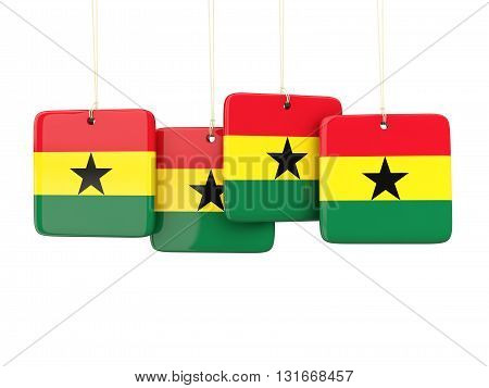 Square Labels With Flag Of Ghana