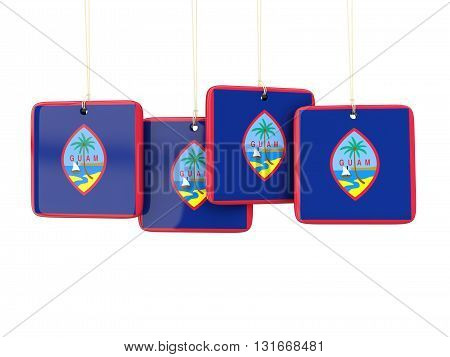 Square Labels With Flag Of Guam