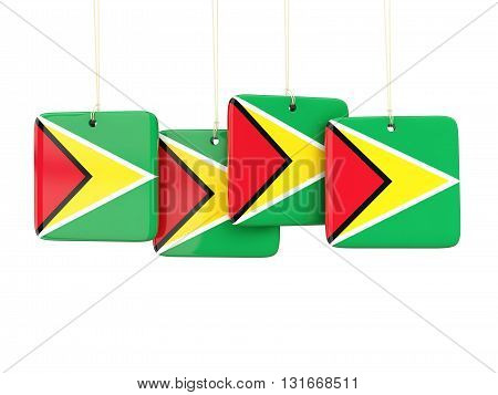 Square Labels With Flag Of Guyana