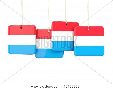 Square Labels With Flag Of Luxembourg