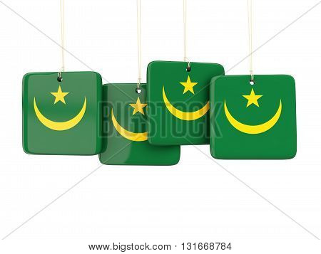 Square Labels With Flag Of Mauritania