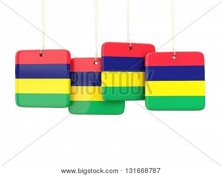 Square Labels With Flag Of Mauritius