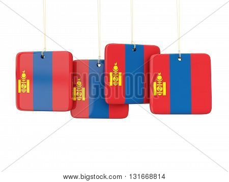 Square Labels With Flag Of Mongolia