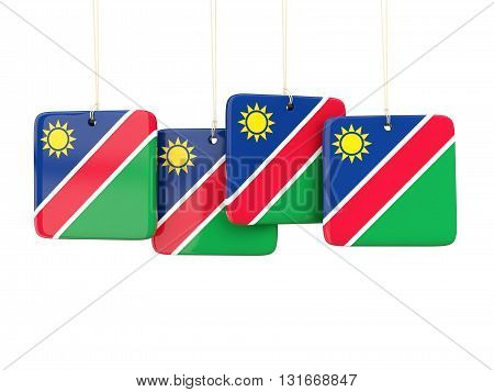 Square Labels With Flag Of Namibia