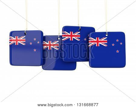 Square Labels With Flag Of New Zealand