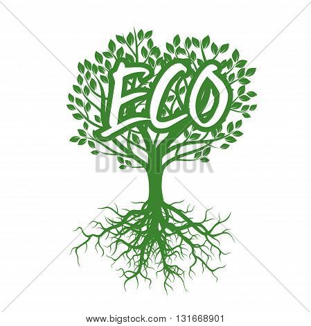 Shape of Green Tree and text ECO. Vector Illustration.