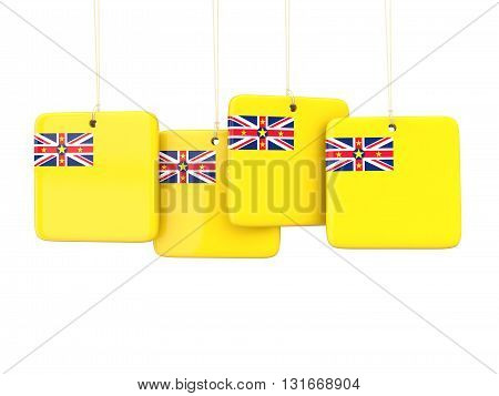 Square Labels With Flag Of Niue