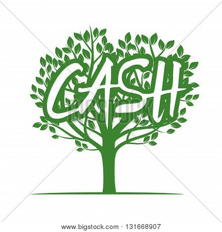 Shape of Green Tree and CASH. Vector Illustration.