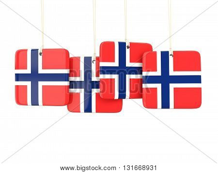 Square Labels With Flag Of Norway