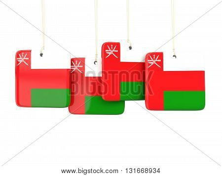 Square Labels With Flag Of Oman