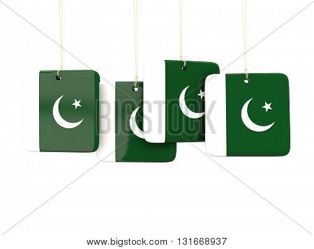 Square Labels With Flag Of Pakistan
