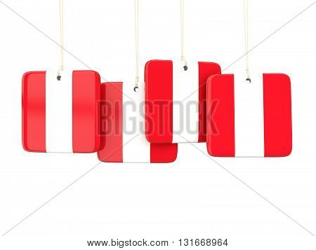 Square Labels With Flag Of Peru