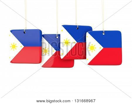 Square Labels With Flag Of Philippines