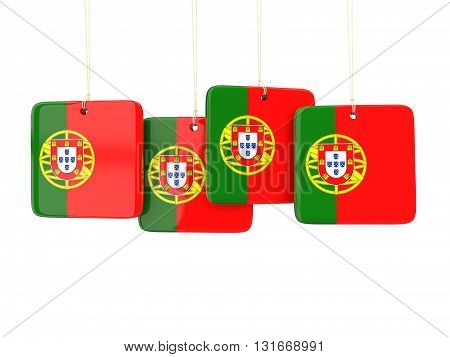 Square Labels With Flag Of Portugal
