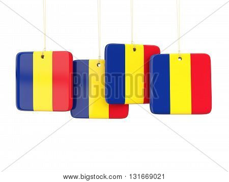 Square Labels With Flag Of Romania