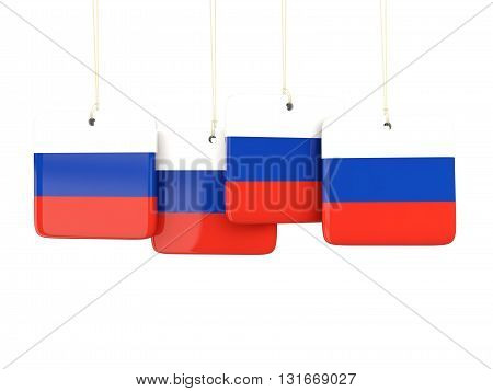 Square Labels With Flag Of Russia