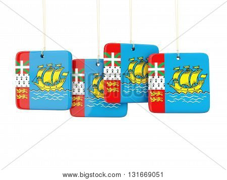 Square Labels With Flag Of Saint Pierre And Miquelon