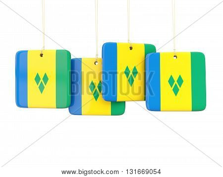 Square Labels With Flag Of Saint Vincent And The Grenadines