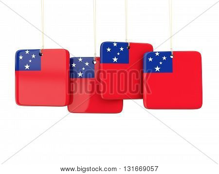 Square Labels With Flag Of Samoa