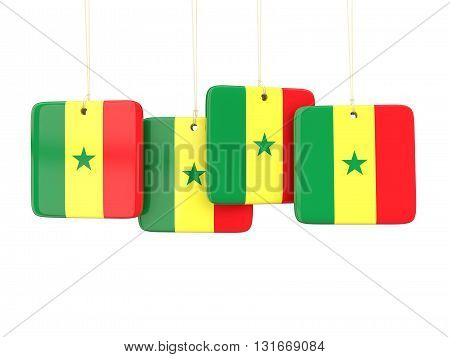 Square Labels With Flag Of Senegal
