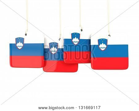 Square Labels With Flag Of Slovenia
