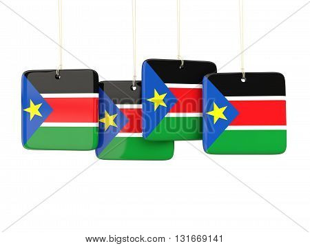 Square Labels With Flag Of South Sudan