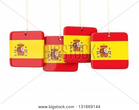 Square Labels With Flag Of Spain