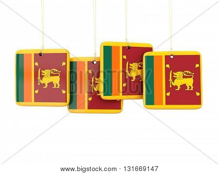 Square Labels With Flag Of Sri Lanka