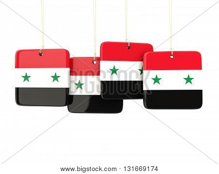 Square Labels With Flag Of Syria