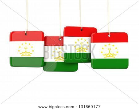Square Labels With Flag Of Tajikistan