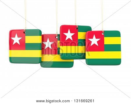 Square Labels With Flag Of Togo