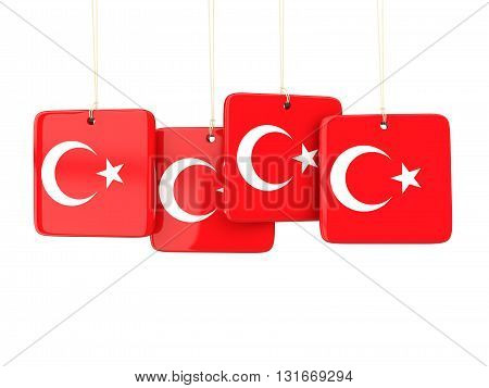 Square Labels With Flag Of Turkey
