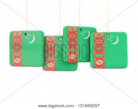 Square Labels With Flag Of Turkmenistan
