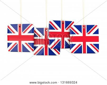 Square Labels With Flag Of United Kingdom