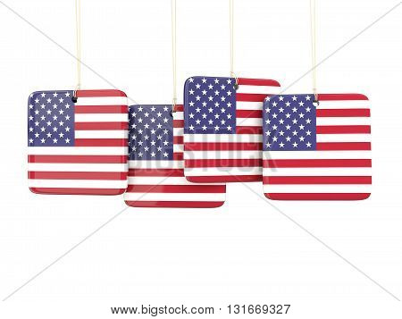 Square Labels With Flag Of United States Of America