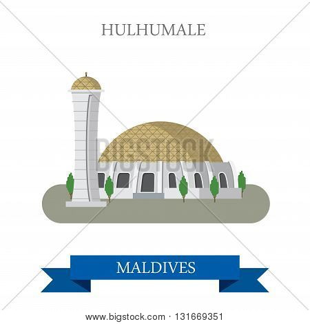 Hulhumale Maldives vector flat attraction travel sightseeing
