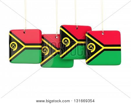 Square Labels With Flag Of Vanuatu