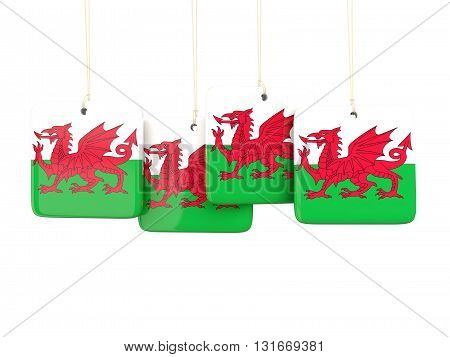 Square Labels With Flag Of Wales