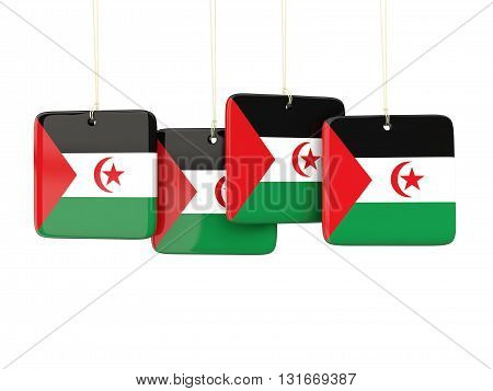 Square Labels With Flag Of Western Sahara